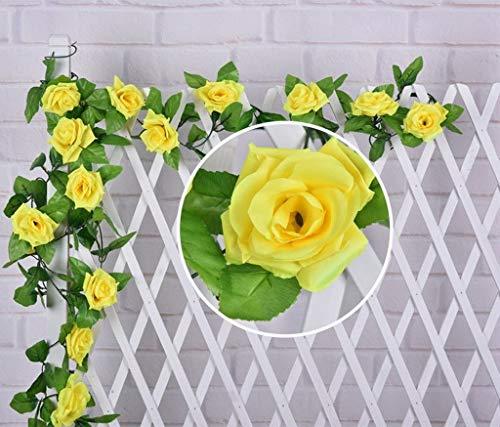 AlphaAcc künstliche Rose Seide Blume Green Leaf Rebe Garland Home Wand Party Dekoration Hochzeit Aufkleber X2 gelb (Seide Blumen Rosen Gelb)