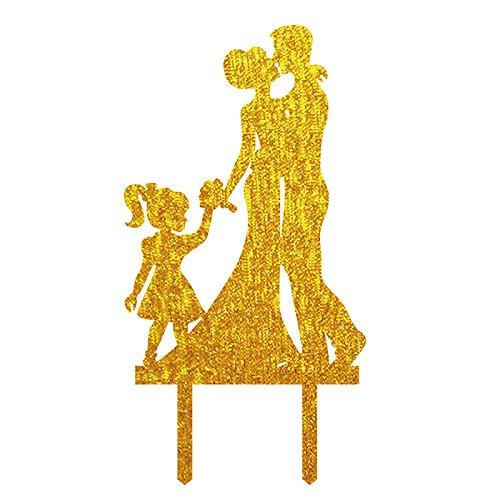 Hochzeit Tortenaufsatz Silhouette Bräutigam und Braut mit Little Girl Familie Acryl Tortenaufsatz, Dekoration für Hochzeit Birthday Cake Topper schwarz (Dr Seuss Cupcake Toppers)