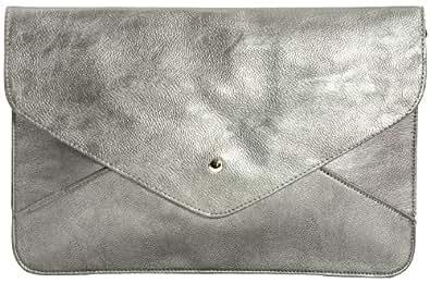 Girly HandBags Oversized Envelope Clutch Bag Flat Faux Leather Evening Bag Extra Large Vintage (Silver)