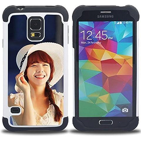 Hypernova Ibrido Heavy Duty Armatura antiurto Cover silicone cassa caso robusto Per SAMSUNG Galaxy S5 V / i9600 / SM-G900 [Carino Koeran Ragazza Asiatica]