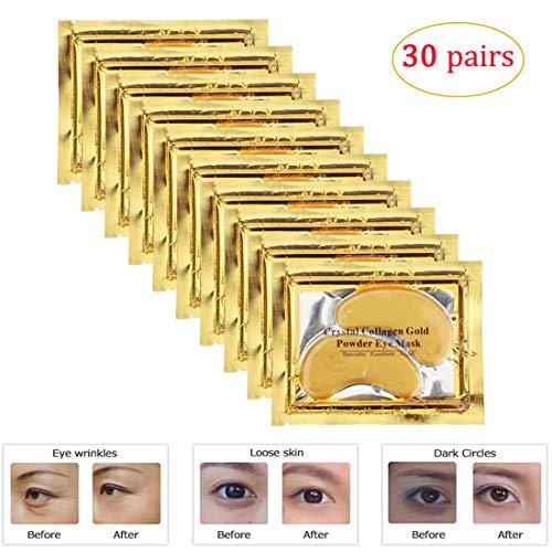30Paar Gold Eye Maske Power Crystal Gel Collagen Masken, ideal für Anti Alterung, Augenringe & Schwellungen Freezable Gel