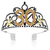 ArtiDeco Damen Geburtstagskrone Goldene Blume Schwarze Kristalle Tiara Happy Birthday Crown 21/30/40/50/60/90 Geburtstag Krone mit Kamm