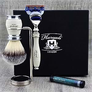 Elegante 3PCS Set per rasatura per uomo > Sintetico di pennello, Gillette Fusion & Dual stand| Fell Cura Kit Regalo per lui