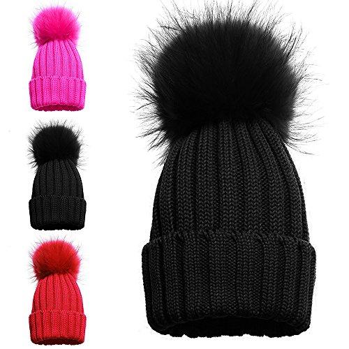 Gorro tejido de invierno para niña con pompón individual y doble 1 POM POM HAT BLACK