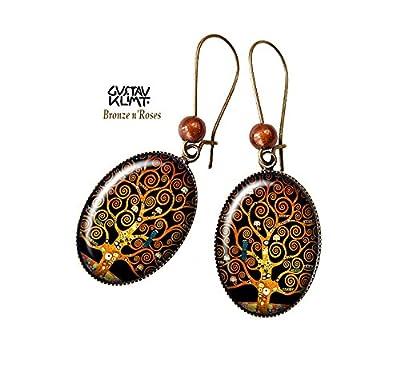 Boucles d'oreilles Arbre de vie rétro bijou spirales Gustav Klimt bronze-n-roses
