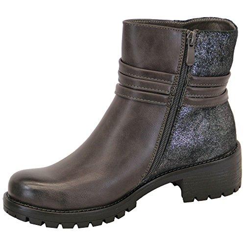 DONNA SCARPONCINI chelsea donna biker borchie tacco basso bordo superiore alto scarpe caviglia zip inverno Grigio - RS05
