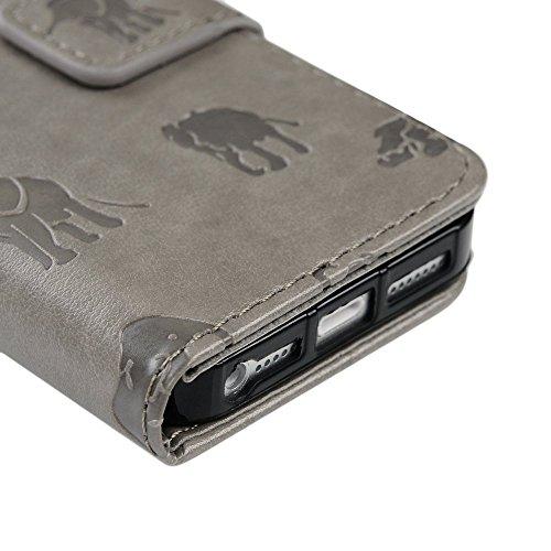 Mavis's Diary Étui iPhone 5/iPhone 5S/iPhone SE Coque en Cuir Gris Éléphant Imprimé Housse Portefeuille Fente de Carte Étui à Rabat Fermeture Magnétique Phone Flip Case Cover motif 3