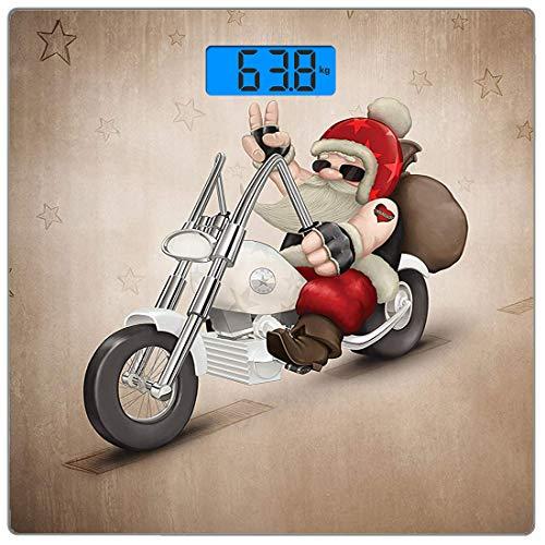 dy Weight Scale Weihnachten Ultra Slim Gehärtetes Glas Personenwaage Genaue Gewichtsmessungen, Rock Grunge Santa mit Herz Tattoo auf Motorrad Lieferung Bikie Peace Theme, Schwarz W ()