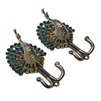 MagiDeal Multi-color Vintage 1 Pair Peacock Double Metal Wall Mounted Hanger DIY Hook for Clothes Towel Bag Coat
