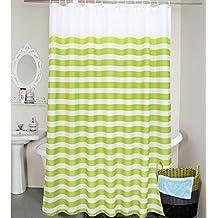 starail Extra larga rayas náuticas, resistente al agua tela cortina de ducha, color negro y blanco, poliéster, Verde, 95x80