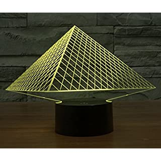 AntEuro LED 3D Lamp, EONANT 3D Nigh Lights LED USB Touch with 7 Color Optical Illusion Desk Lights for Kids Room Home Decoration (Pyramid)