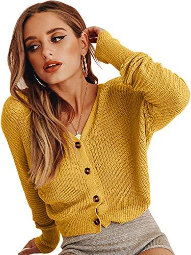 ECOWISH Damen Casual Pullover V Ausschnitt Kurz Strickjacke Button Down Cropped Strick Fledermausärmel Leicht Cardigan Gelb M