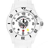 Taffstyle® Fanartikel Silikon Armbanduhr Gummi Trend Watch Quarz Fan Uhr mit Fussball Weltmeisterschaft WM & EM Europameisterschaft 2016 Länder Flaggen Style - Deutschland Weiß mit Adler