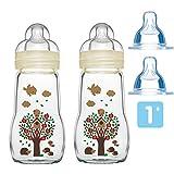 MAM Glas Flaschen Set Feel Good ab Geburt Uni 2 x 260 ml inkl. 4 Seiden Sauger