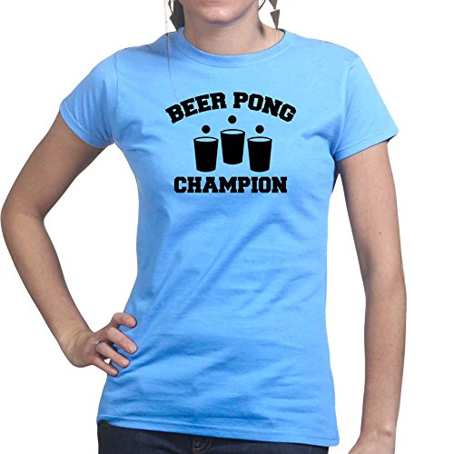 Beer Pong Champion Funny Drinking Ladies T Shirt (Tee, Top) Medium Light Blue - Bier Womens Light T-shirt