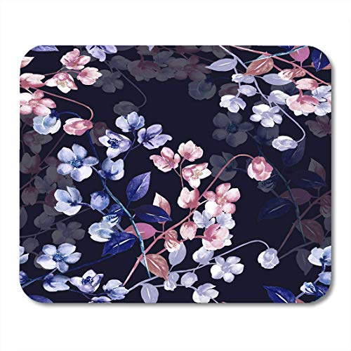 Deglogse Gaming-Mauspad-Matte, Purple Abstract Colorful Bouquet Watercolor Flowers of Rosemary on Colored Green Floral White Ade Mouse Pad,Desktop Computers Mouse Mats, -