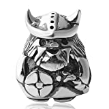 Hoobeads Viking Warrior Authentic 925 Sterling Silver Bead Fits Pandora Chamilia Biagi Troll Charms Europen Style Bracelets (Viking Warrior-2) by Antique Silver Beads