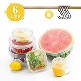 Besfair 6er Dehbare Silikondeckel, BPA Frei Silikon-Stretch-Deckel in Verschiedenen Größen, Alternative zu Frischhaltefolie & Alufolie, Wiederverwendbar Silikonabdekung für Küche
