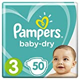 Pampers Baby-Dry with Air Channels For Breathable Dryness Overnight, Size 3, 50 Nappies, 6kg - 10kg