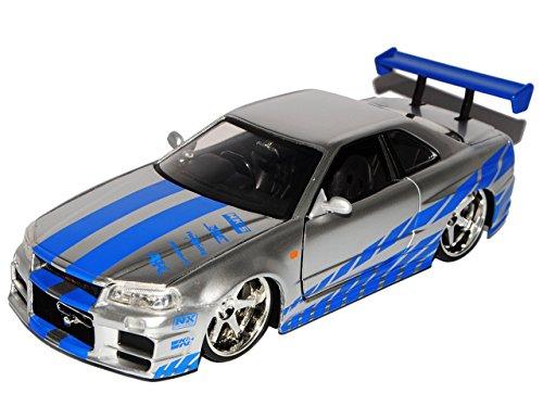 Nissan Skyline GT-R R34 2002 silber blau Brian Fast/&Furious Modellauto 1:24 Jada
