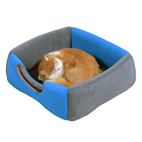 PawHut® Hundebett Katzenhöhle 2 in 1 Hundehütte Katzenbett Schlafplatz Höhle (Blau) - 2