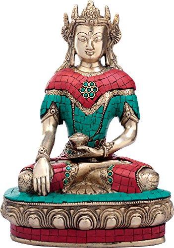 AapnoCraft 25,4cm Messing Maitreya Buddha Statue–Smiling Buddha Idols mit Edelstein Arbeit Tibetische Vajradhara Buddhismus Home Decor (Maitreya-statue)