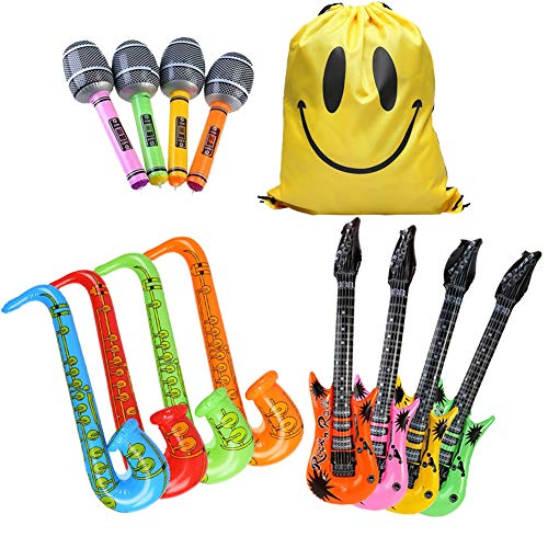 MIMIEYES Gommone Rock Star Toy Set per Gonfiabili per Party Chitarra Sassofono Microfono Palloncini per Musica Party (12 Pezzi Colore Casuale)