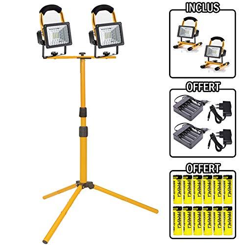 LED-Strahler, tragbar, wiederaufladbar, sehr leistungsstark und hell, 30 W, 2400 Lumen, Baustelle, kabellos, für Angeln, Basteln, Nacht, RoHS IP65 + Stativ inklusive.