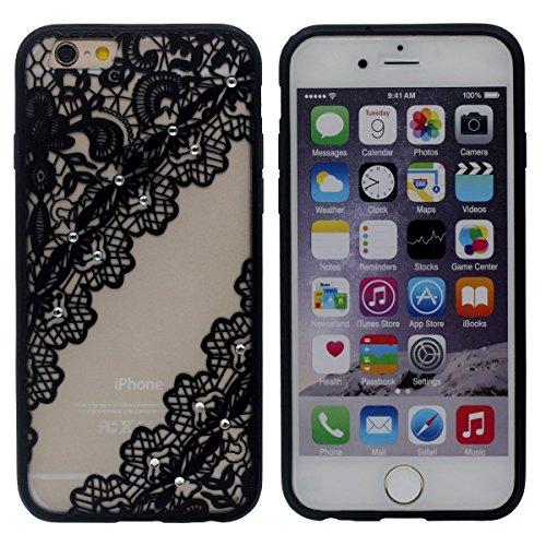 Noir Fleur Style Motif Bling Faux Diamant Élégant iPhone 6 / iPhone 6S 4.7