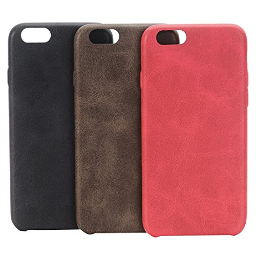 Pour iPhone 6 / 6s, Crazy Horse Texture Protective Back Case JING ( Color : Red ) Coffee