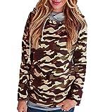 Rcool Womens Camouflage Druck Hoodie Baumwolle Kapuzenpullover O-Neck Pulli Sweatshirt Kapuzen Pullover Tops Bluse Camouflage (M)
