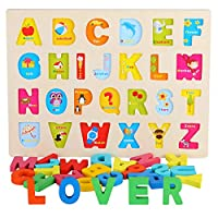 AiTuiTui Wooden Alphabet Puzzles Numbers Count Board Blocks 3 Sets Game
