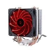 upHere Prozessorkühler mit 92 mm PWM Lüfter - CPU Kühler für AMD und Intel Sockel bis Kühlleistung - Multkompatibel- Mit voraufgetragener MX-4 Wärmeleitpaste Rote