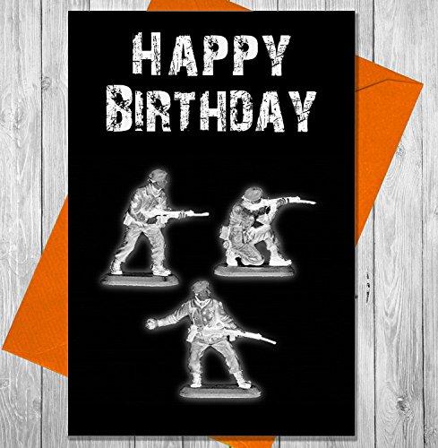 Geburtstagskarte Armee Soldaten-Einzigartiges Kreidetafel Effekt Grußkarte