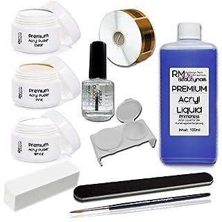 Acryl Set 1 Nagelset Starterset 100ml Liquid Acrylpuder Klar - Weiß - Pink Primer Feile Buffer