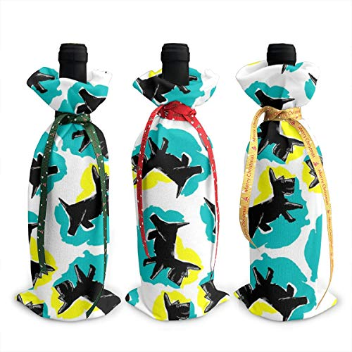 Wine Bags,'s Style Scottie Dog In Yellow Turquoise Champagne Wine Bottle Bags Covers for Wedding Party Holiday 3 Pieces Set Bottle Neoprene Wine Tote Bag