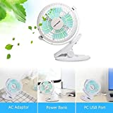 Keynice Mini USB Clip and Desk Personal Fan, Quiet Operation, Desk Fan, Desk Fans, mini fan, table fan,4 Inch 2 Speed Portable Cooling Fan USB Powered by NetBook, Computer MacBook, Power Bank, and PC, 360° up and down ,for Home Office - White