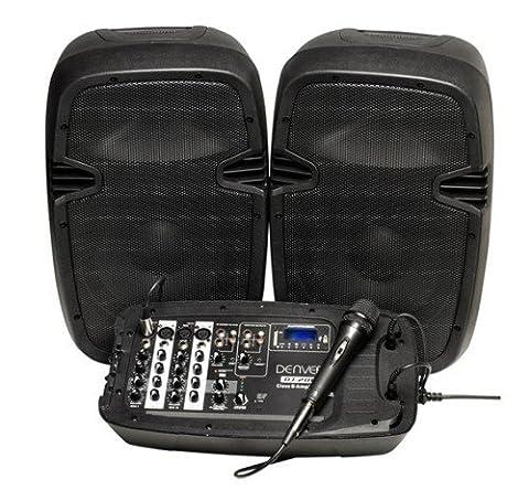 Denver DJ-200 DJ Mixer Set (2 haut-parleurs, 2x100W, Bluetooth, USB