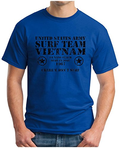 OM3 SURF TEAM VIETNAM - T-Shirt United States Army Charlie Don't Surf Da Nang Beach 1967 USA, S - 5XL Royalblau