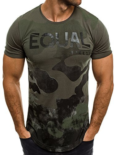 OZONEE Herren T-Shirt mit Motiv Kurzarm Rundhals Figurbetont BREEZY 548 Khaki