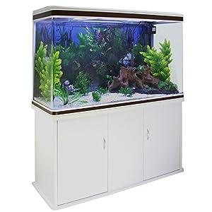 MonsterShop – Aquarium de 300 Litres, Kits et Accessoires de Démarrage, Plantes, Graviers Blanc, Meuble BLANC, d'une dimension totale de 143,5 cm de Haut x 120,5 cm de Large x 39 cm de Profondeur