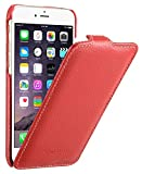 Edle Tasche für Apple iPhone 6S und 6 (4.7 Zoll) / Case Außenseite aus beschichtetem Leder / Cover Innenseite aus Textil / Schutz-Hülle aufklappbar / ultra-slim / Flip-Case / Farbe: Rot