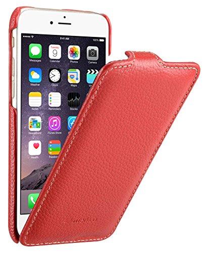 Edle Tasche für Apple iPhone 6S und 6 (4.7 Zoll) / Case Außenseite aus beschichtetem Leder / Cover Innenseite aus Textil / Schutz-Hülle aufklappbar / ultra-slim / Flip-Case / Farbe: Rot Farbe Flip Case