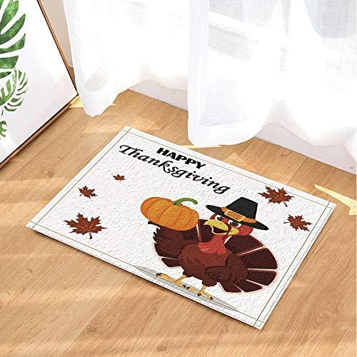 HTSJYJYT Thanksgiving Decor Türkei Vogel trägt einen Pilgerhut und hält Kürbis Bad Teppiche Rutschfeste Fußmatte Fußbodeneingänge Indoor Haustürmatte Kinder Badmatte 60X40CM (Thanksgiving Ausschnitte Türkei)