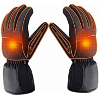 Azornic Battery Powered Rechargeable Heated Gloves for Men/Women, Waterproof Insulated Electric Heating Thermal Gloves for Winter Warmer Outdoor Camping Hiking Hunting