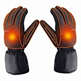 Azornic Battery Powered Rechargeable Heated Gloves for Men/Women, Waterproof Insulated Electric Heating Thermal