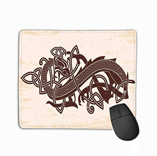 Mouse pad celtic two headed dragon national ornament intertwined ribbon beige background aging effect celtic two headed steelseries keyboard
