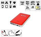 YATO Profi Powerbank mit Jumpstarter 200A/400A/7500 mAh | 5V/2A USB | Notlicht | Tragbare Auto Starthilfe Autobatterie Anlasser Taschenlampe Powerstation Ladegerät Überbrückungskabel