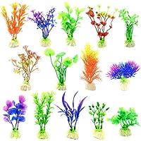 Plantas artificiales del acuario Planta de plástico del tanque de pescados para la decoración del acuario 14pcs (Grupo de color A)