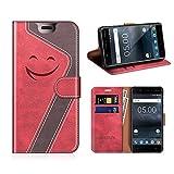 Mobesv Smiley Coque Cuir Nokia 5 Etui Housse en Cuir Portefeuille avec La Fonction Stand pour Nokia 5 (Rouge/Violet Foncé)
